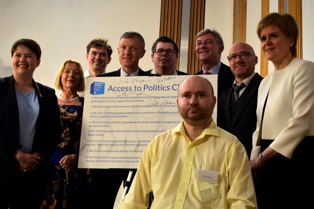 Ethan Young of Inclusion Scotland with Scottish political party leaders